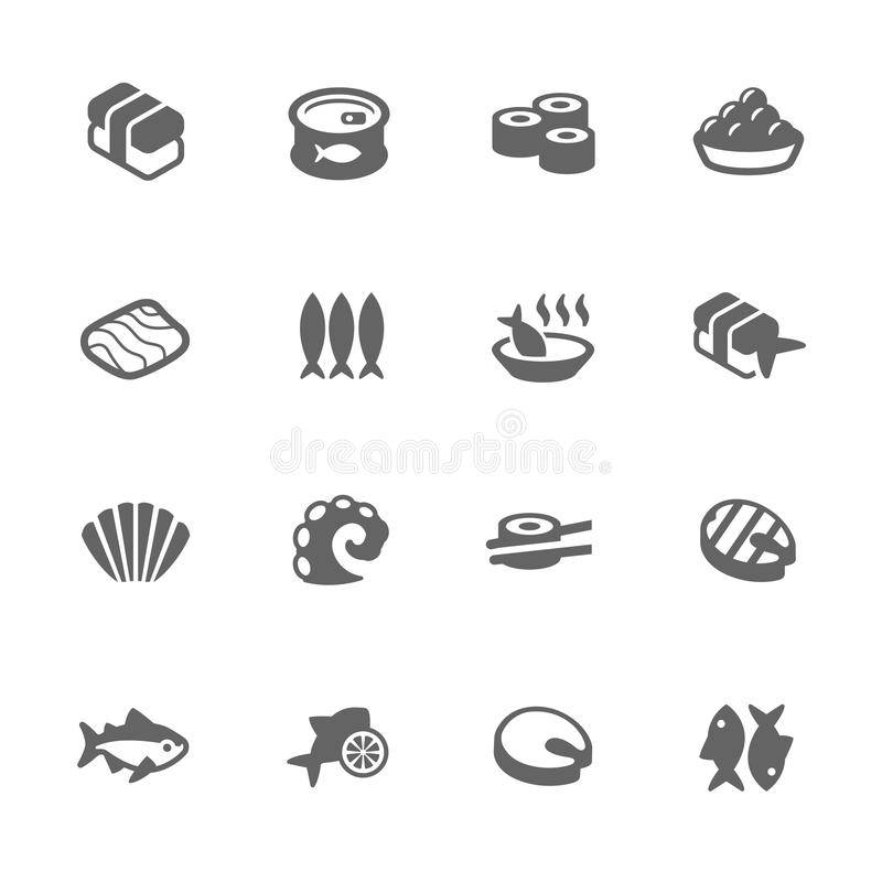 Simple Sea Food Icons royalty free illustration