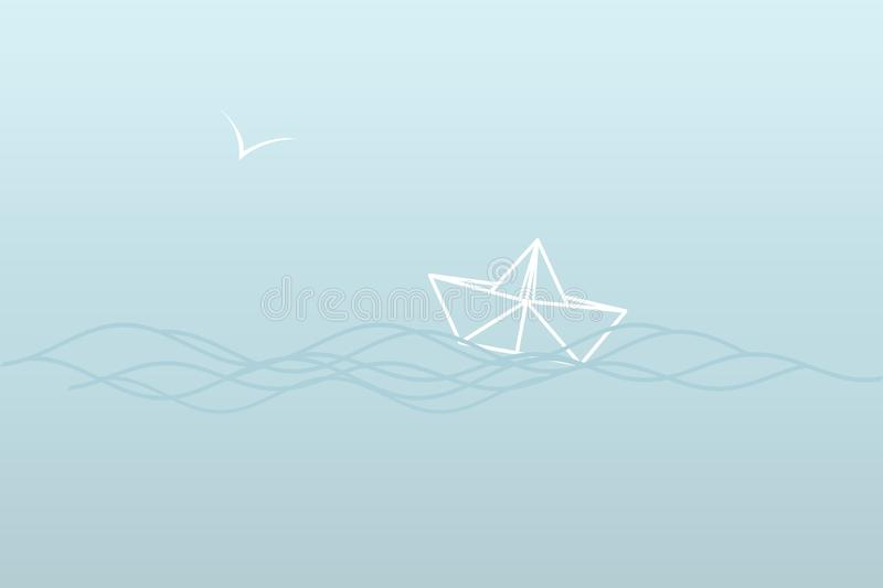 A simple sea illustration in blue tones - a paper boat on the waves and a Seagull. A simple sea illustration of a contour in blue tones - a paper boat on the royalty free illustration