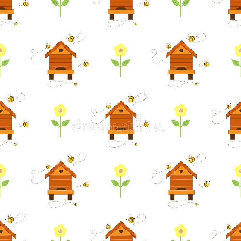 Simple seamless background with bees. hive pattern. vector royalty free illustration