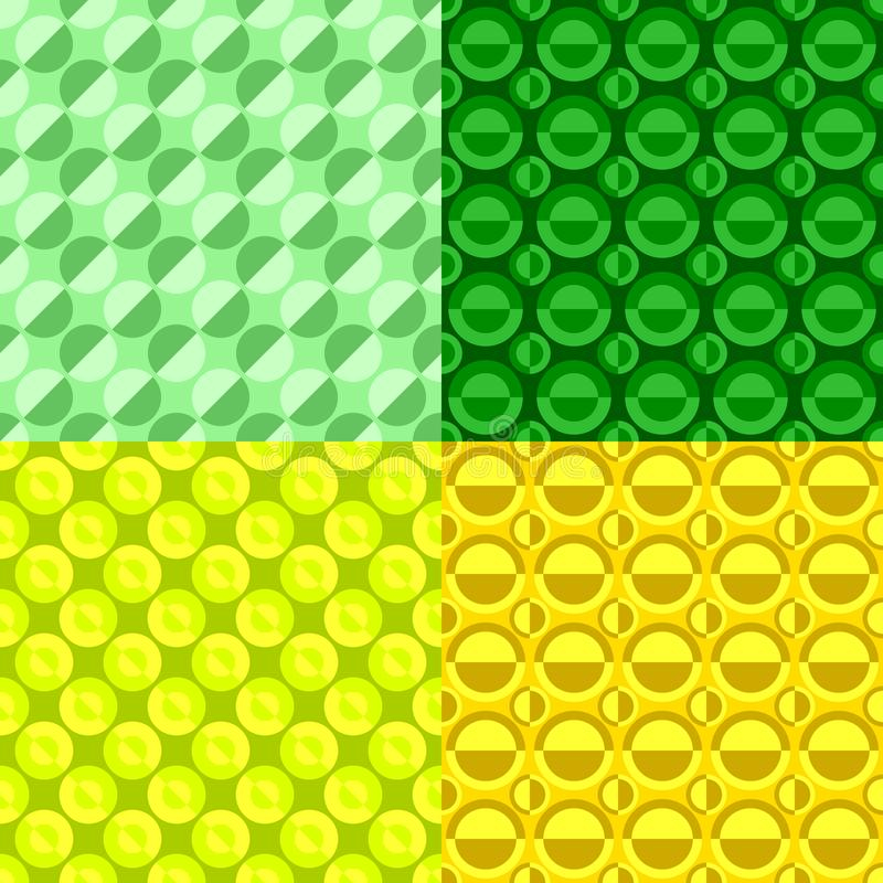 Simple seamless circle pattern background template set - graphic designs royalty free illustration