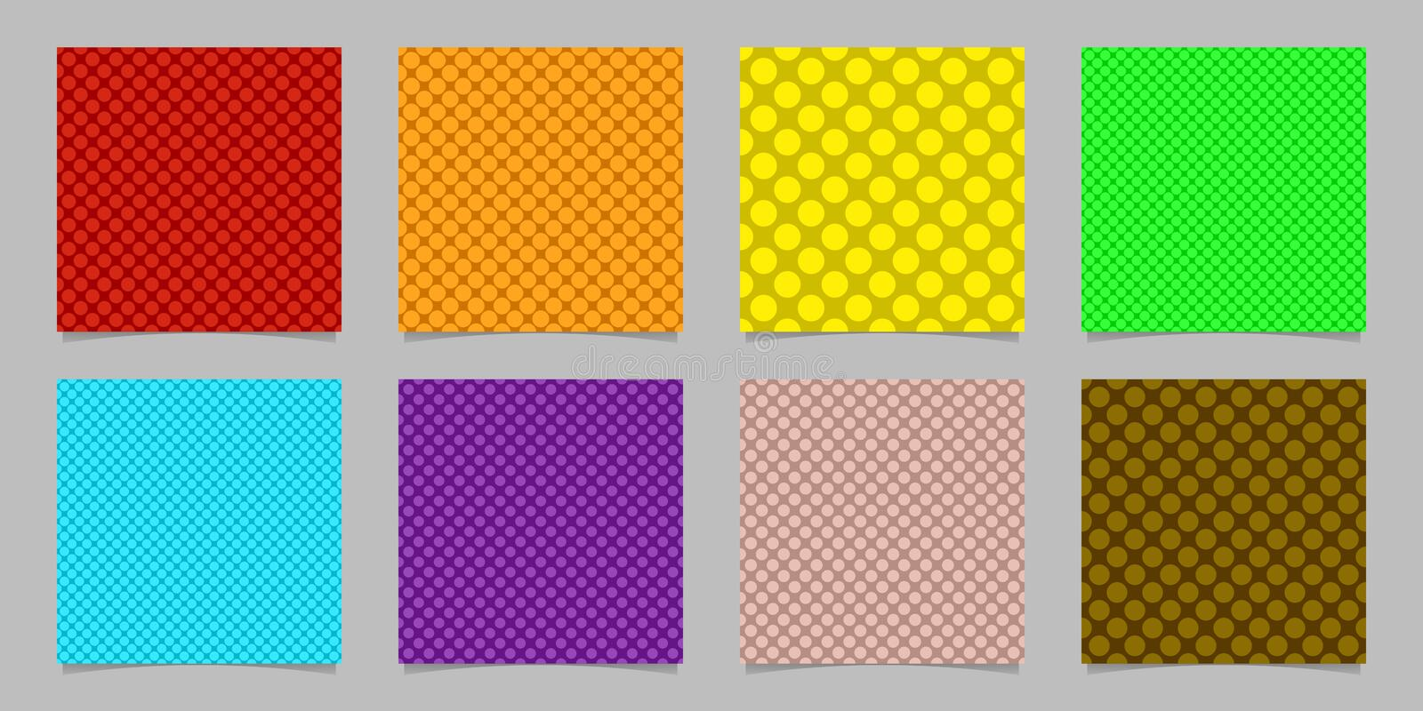 Simple seamless dot background pattern design set - squared vector graphics from colored circles stock illustration