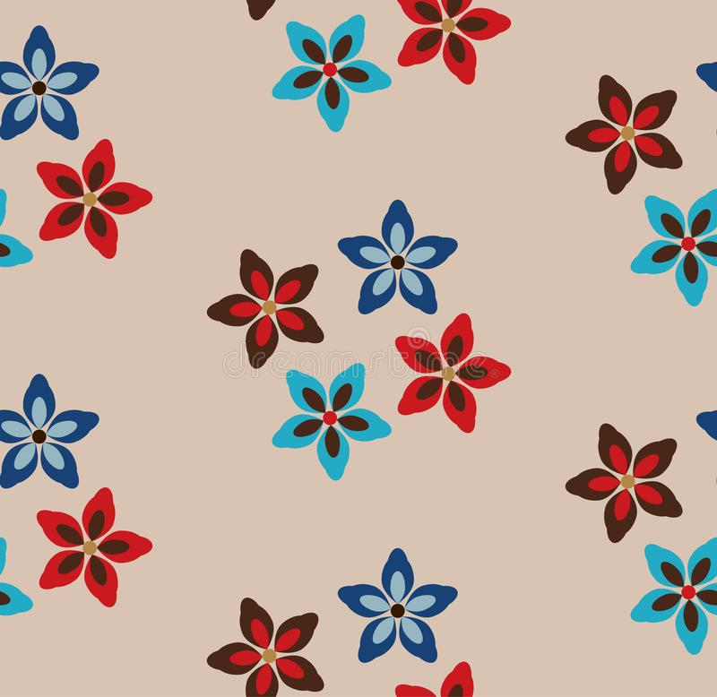 Simple  seamless floral pattern. Beige background with red, brown and blue flowers vector illustration