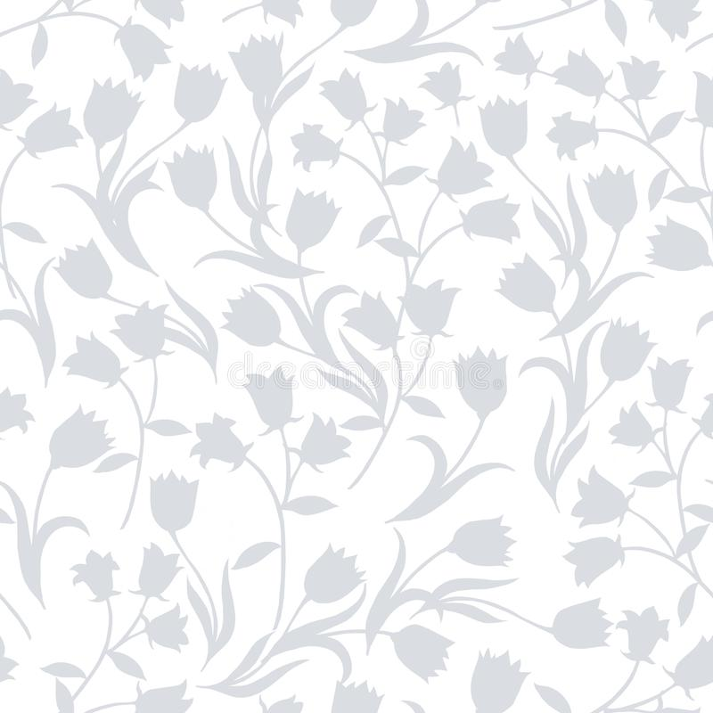 Simple seamless floral pattern. Grey flower onament on white background. royalty free illustration