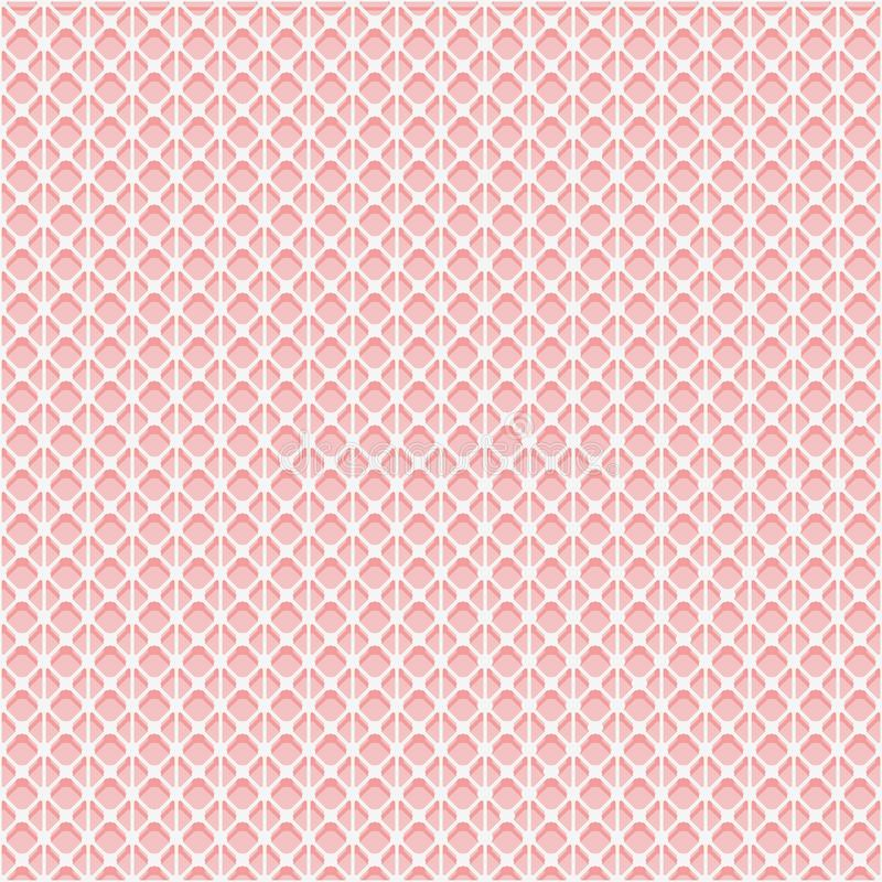 Simple seamless lace mesh texture. White grid on the pink background. Vector illustration stock illustration
