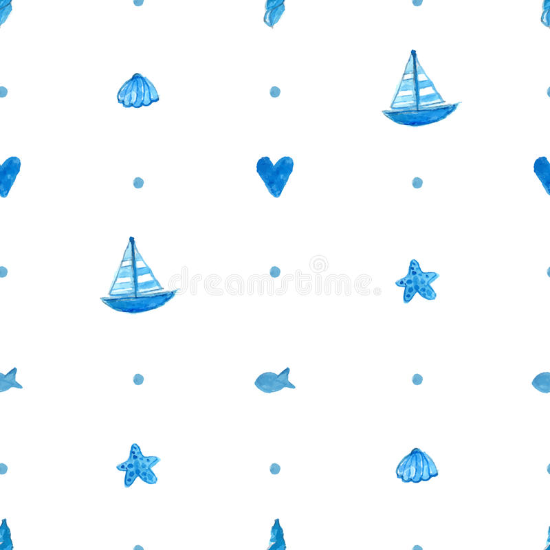 Simple seamless nautical background with hand stock illustration