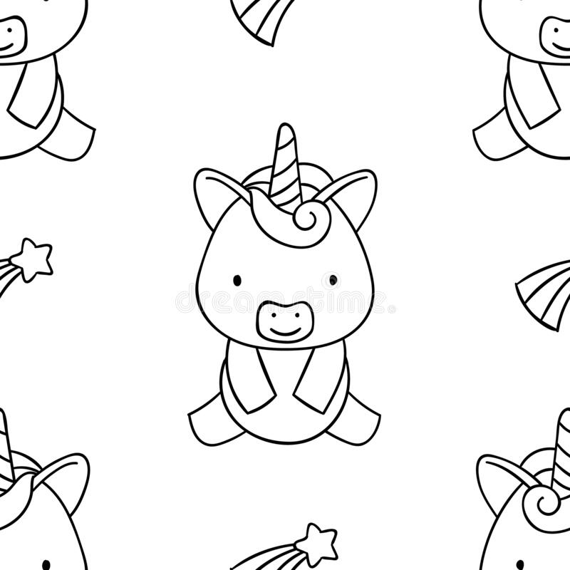 Simple Seamless Pattern, Black And White Cute Kawaii Hand ...
