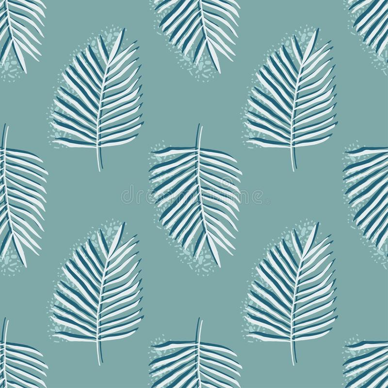 Simple seamless pattern of green tropical palm leaves, hand drawn vector illustration stock illustration