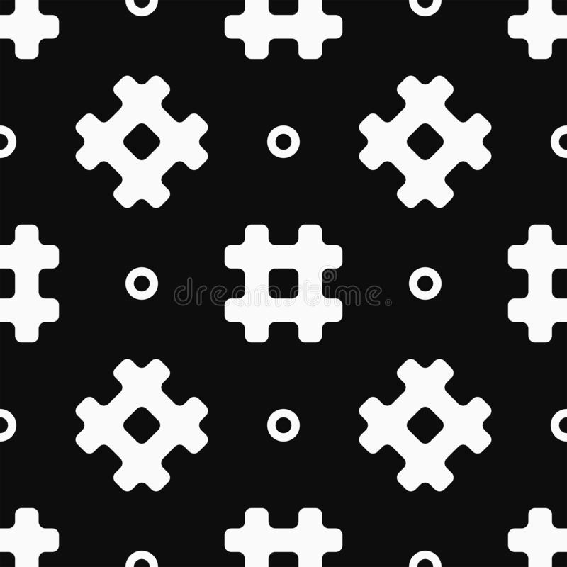 Simple seamless pattern with hashtag symbols and circles. White elements on a black background. Vector illustration royalty free illustration