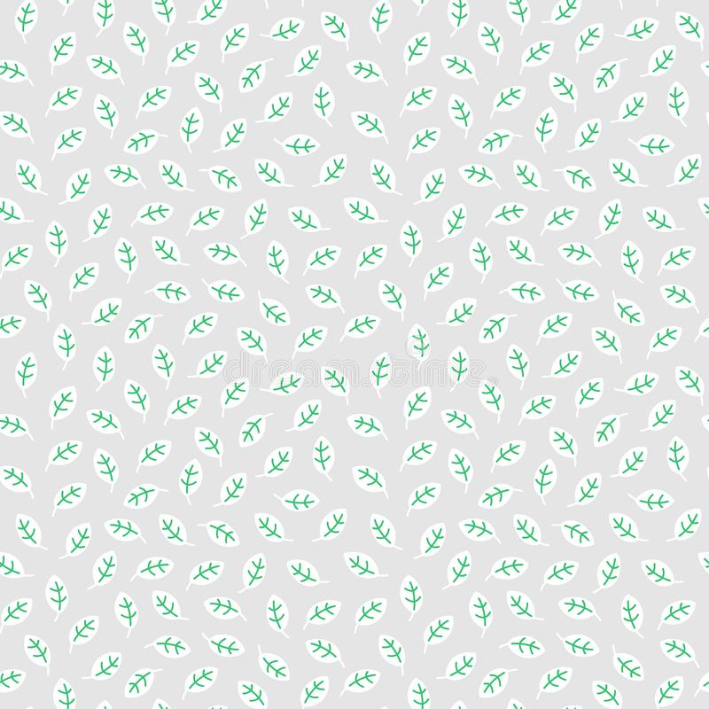 Simple seamless pattern with leaves made in linear flat style on light background. royalty free stock images