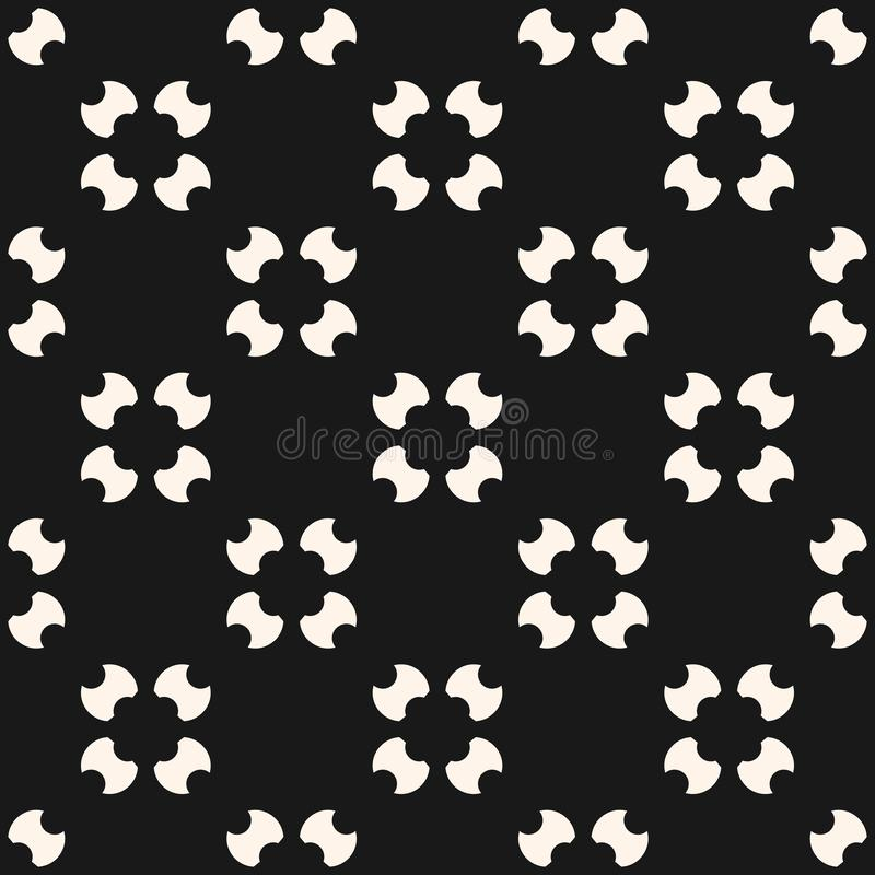 Simple seamless pattern with rounded figures, floral shapes. Vector background stock illustration