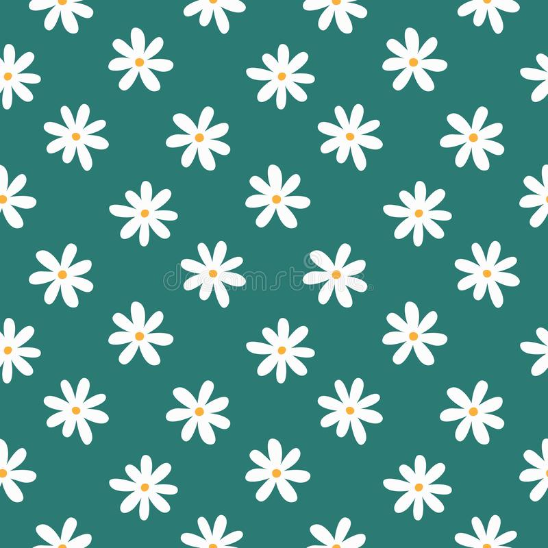 Simple seamless pattern with stylized daisies. Floral print. royalty free illustration