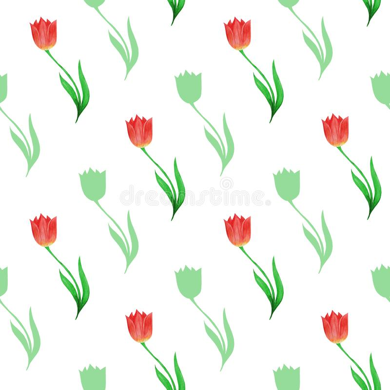 Simple seamless pattern of tulips and flower silhouettes  isolated on a white background. vector illustration