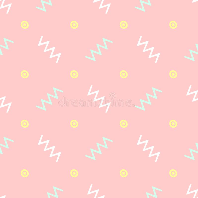 Free Simple Seamless Pattern With Repeating Zigzags And Circles Drawn By Hand. Sketch, Doodle. Royalty Free Stock Photos - 159865478