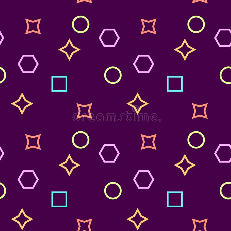 Simple, seamless/repeat memphis pattern/texture. Purple, pink, yellow and blue elements royalty free illustration
