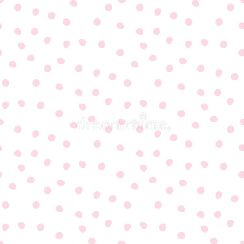 Simple seamless vector pattern with adorable pink dots. Suitable for any project you want stock illustration