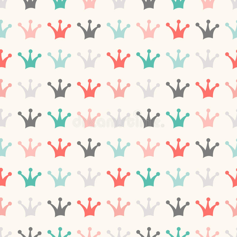 Simple seamless vector pattern with crown. Vintage vector illustration
