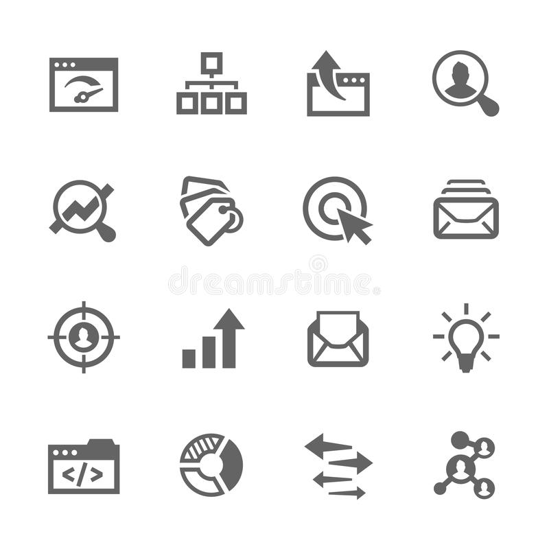 Simple SEO Icons. Simple Set of SEO Related Vector Icons. Contains such icons as mailing, target audience, tags, ideas, statistics, optimisation and more royalty free illustration