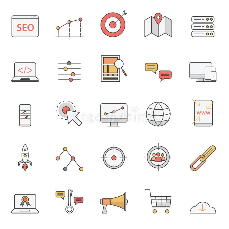 Simple seo icons set for website or basic element with color style vector illustration