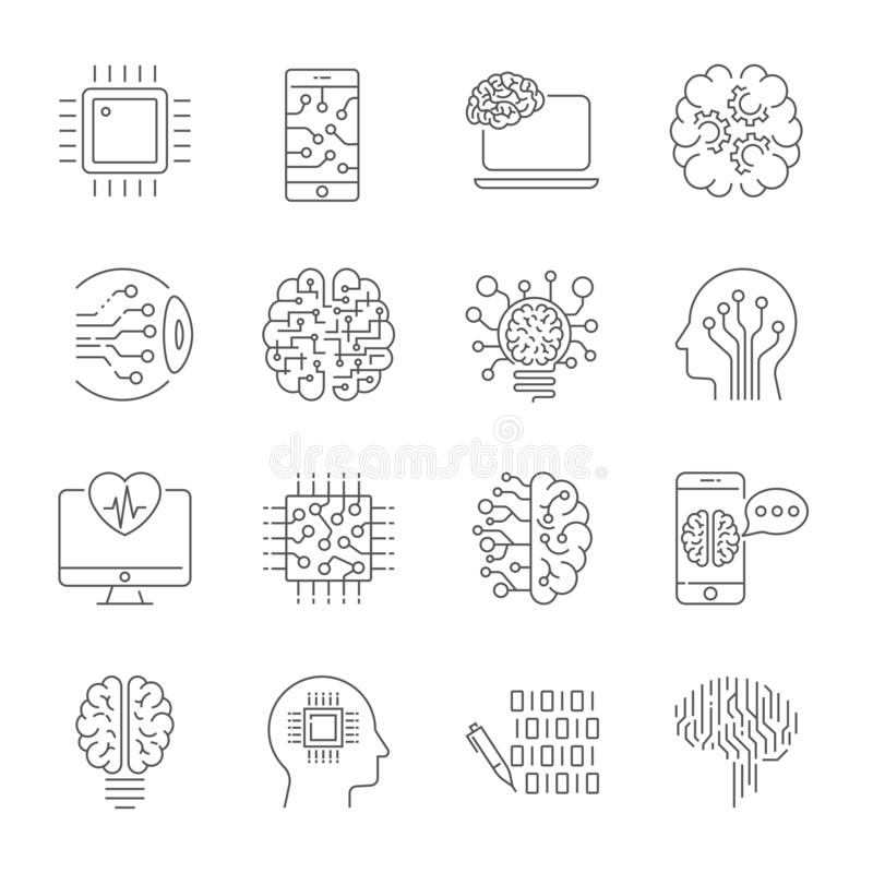 Simple set of artificial intelligence related line icons contains such icons as droid, eye, chip, brain and other. AI stock illustration