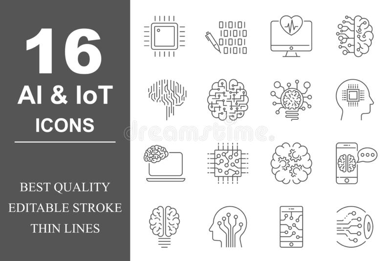 Simple set of Artificial Intelligence related vector line icons. Contains such icons as AI Processor, Cyborg, Self vector illustration