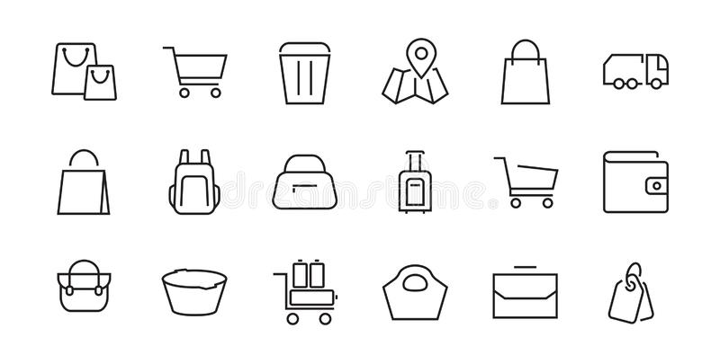 A simple set of bags, shopping and travel icons 矢量图包含卡、钱包、购物等图标 皇族释放例证