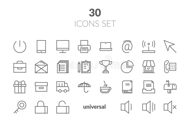 Simple Set of Basic Interface Related Color Vector Line Icons. C. Ontains such Icons as Contact, Info, Alert, Notification, Settings, User Profile and more vector illustration