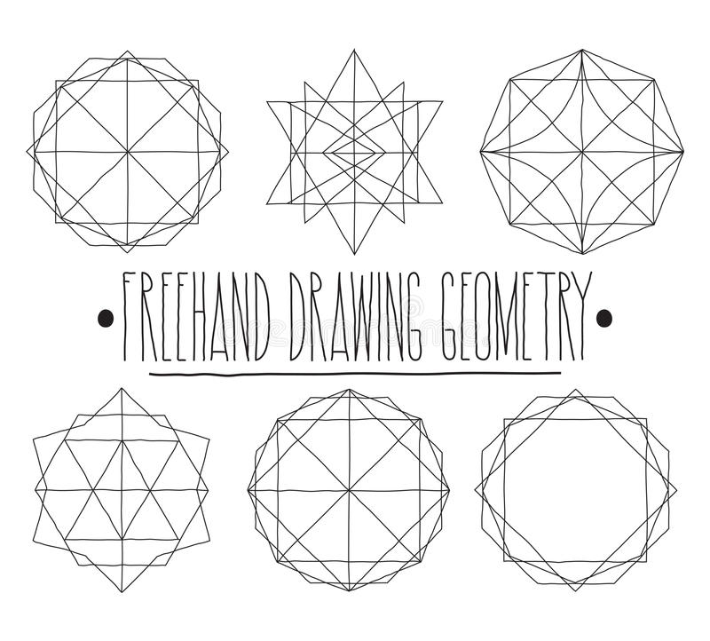 Hollow Geometric Shapes And Elements With Lines Polyhedrons