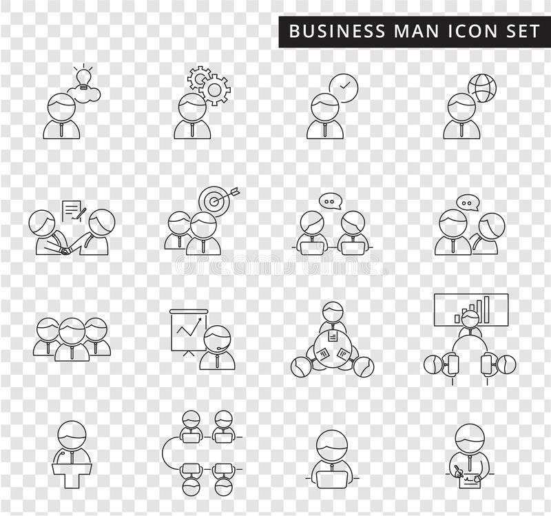 A simple set of business man management and teamwork thin line vector icon on transparency background, cute flat design. A simple set of business man management vector illustration