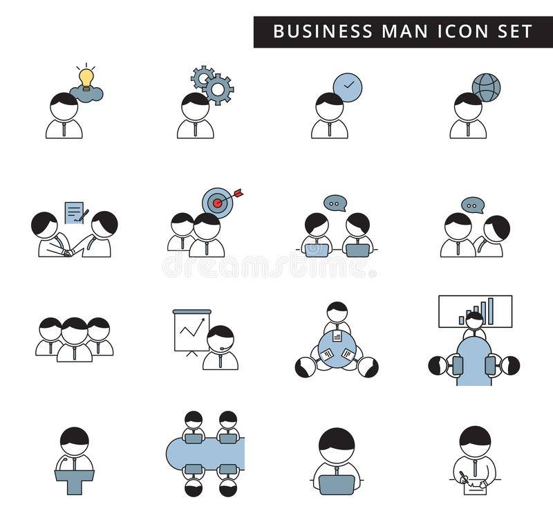 A simple set of business man management and teamwork vector icon on white background, cute flat design, icon character. A simple set of business man management stock illustration