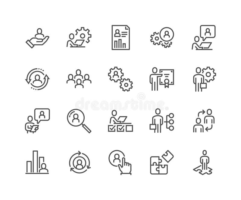 Line Business Management Icons stock illustration