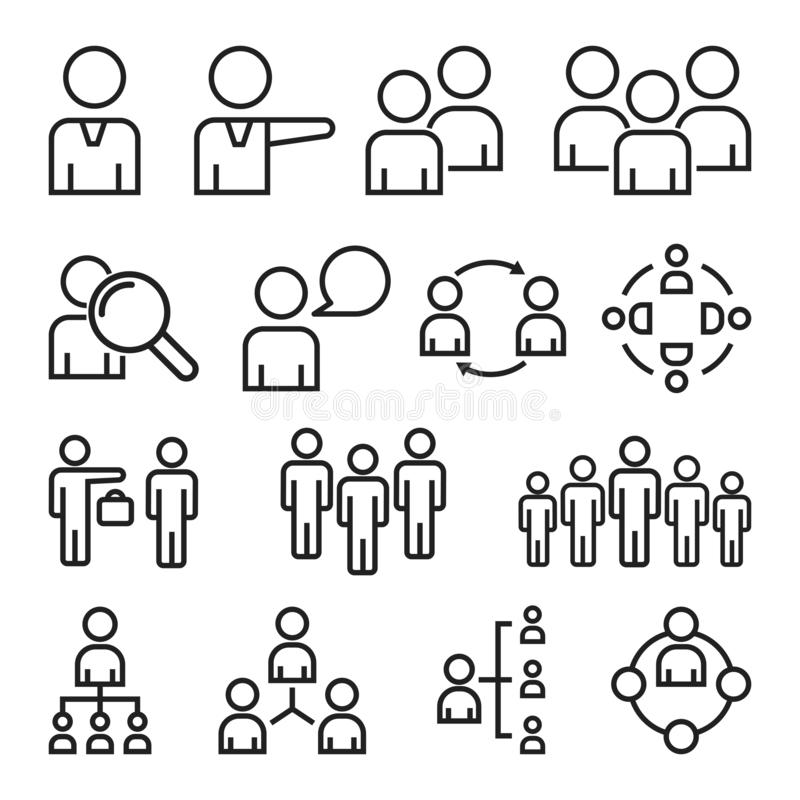 Simple Set of Business People Related Vector Line Icons vector illustration