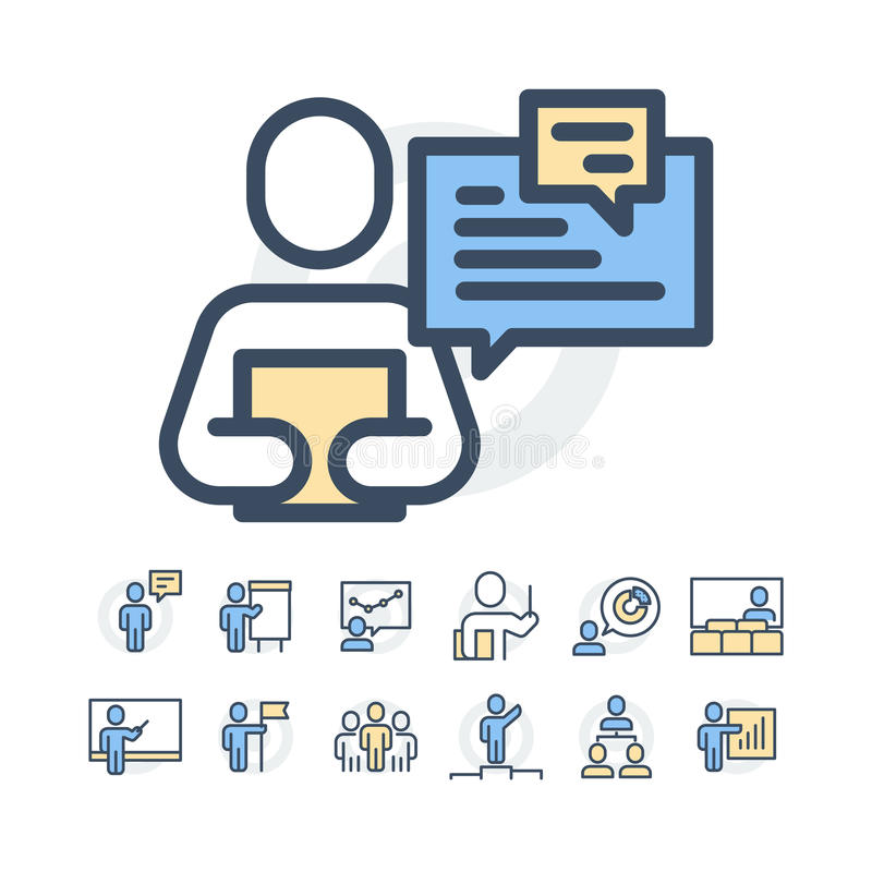 Simple Set of Business People Related Vector Line Icons. Contains such Icons as One-on-One Meeting, Workplace, Business royalty free stock images