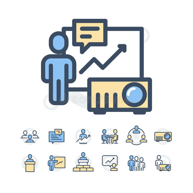 Simple Set of Business People Related Vector Line Icons. Contains such Icons as One-on-One Meeting, Workplace, Business royalty free stock image