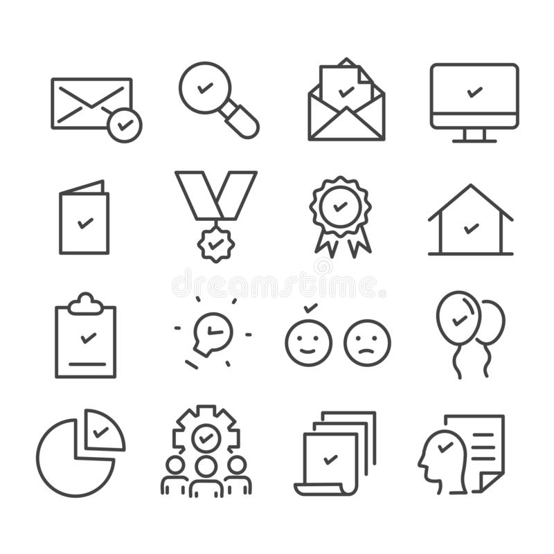 Simple set of check marks. Approve concept minimal icon isolated. Modern outline on white background stock illustration