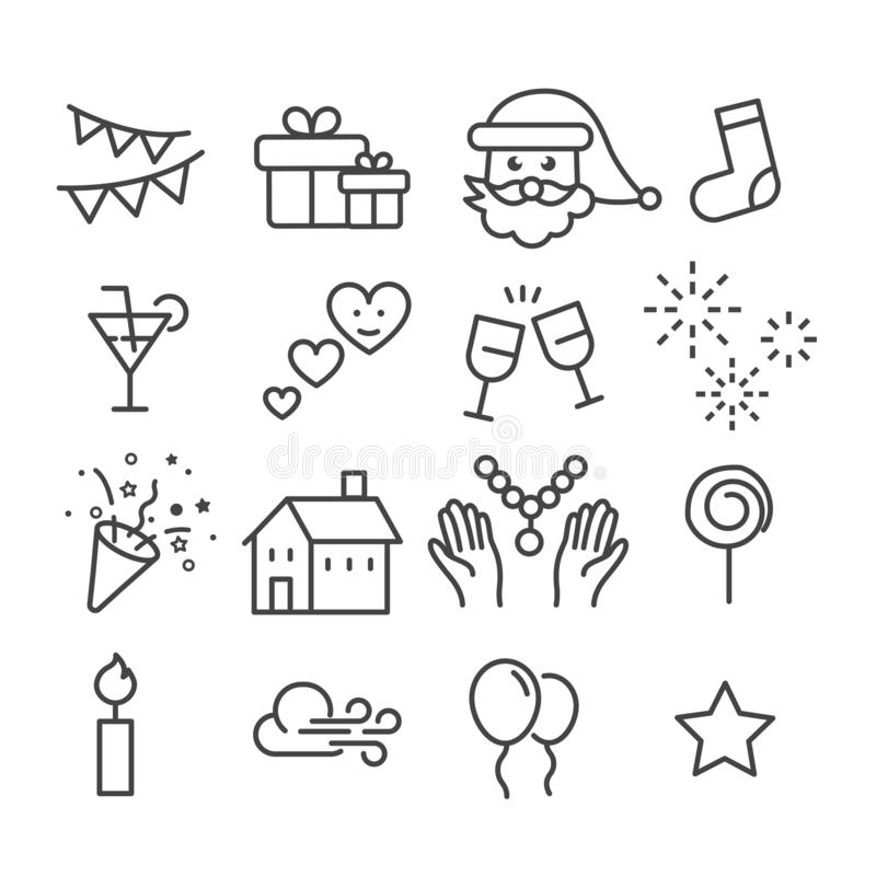 Simple set of Christmas minimal icon isolated. Modern outline on white background royalty free illustration