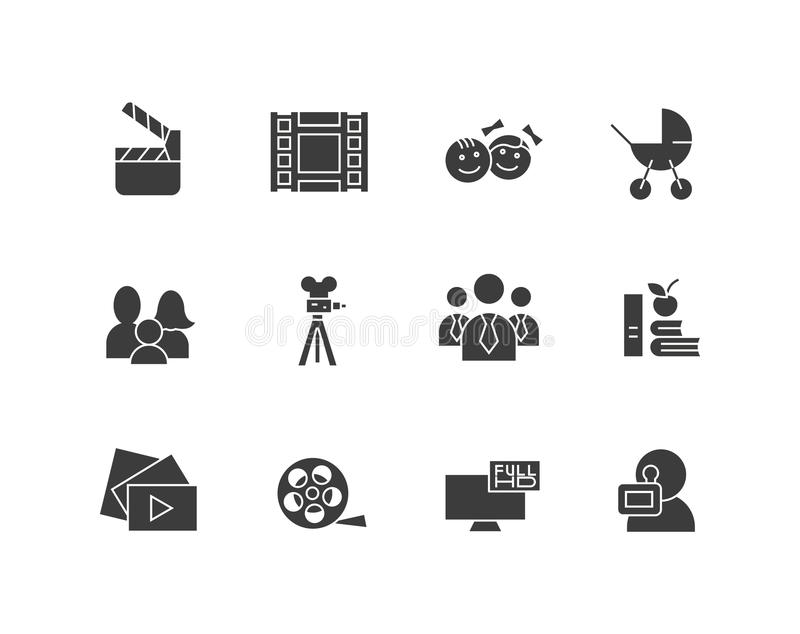 Simple set of cinema related vector silhouette icons. Contains such as movie camera, TV, family, children, video clip. And more. Editable stroke. 48x48 pixel vector illustration