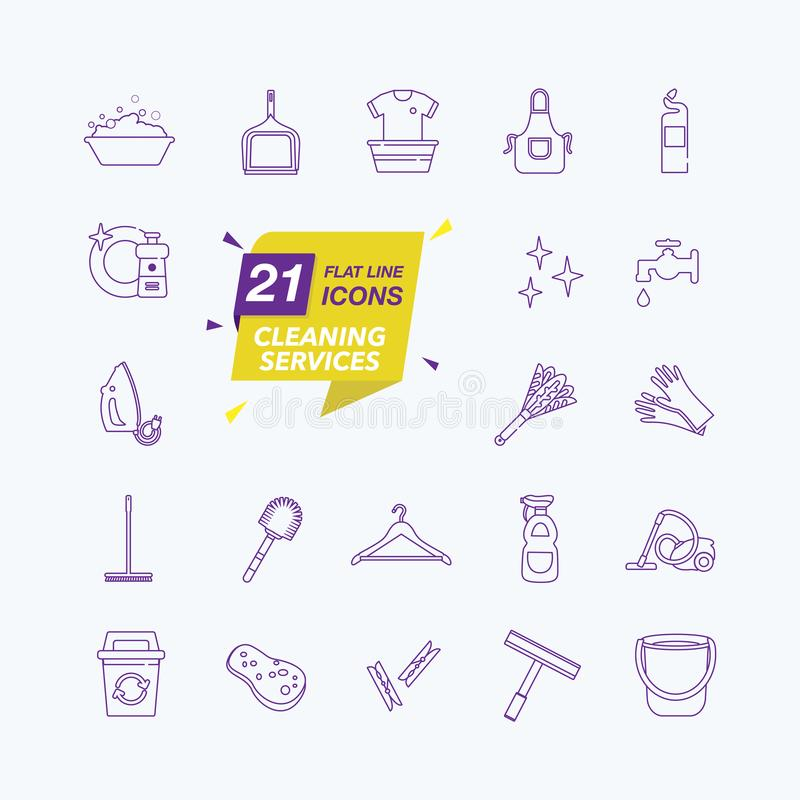 Simple Set of Cleaning Related Vector Line Icons vector illustration