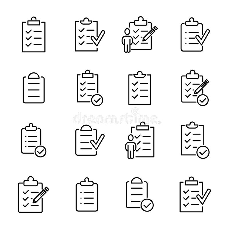 Simple set of clipboard related outline icons stock illustration