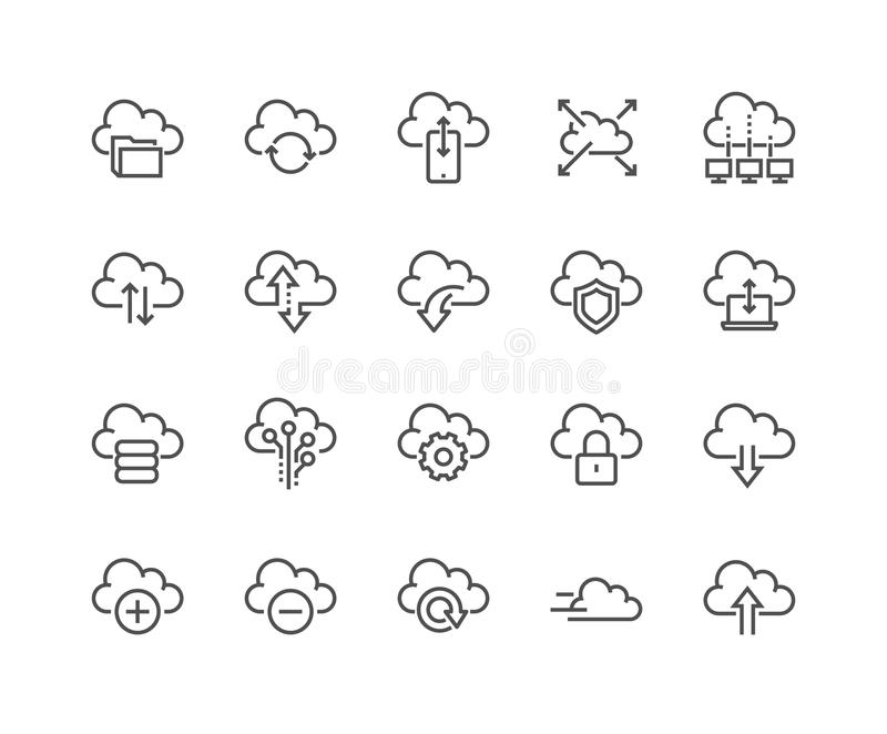 Line Computer Cloud Icons stock illustration