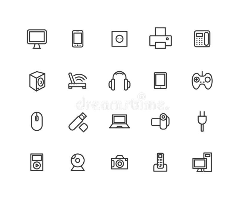 Simple Set of Consumer electronics Vector Line Icons. Contains such Icons as Camera, LCD Monitor, USB and more. Editable. Vector stroke. 48x48 Pixel Perfect vector illustration
