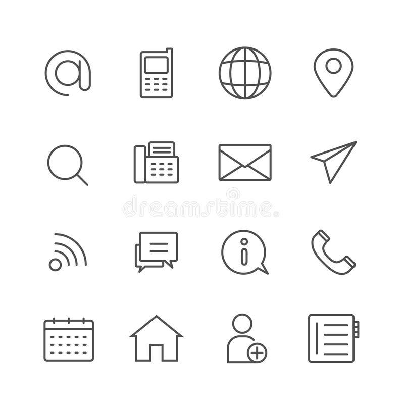 Simple Set of Contact us vector thin line icons stock illustration