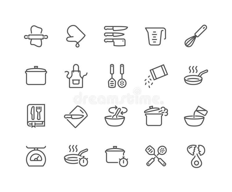 Line Cooking Icons. Simple Set of Cooking Related Vector Line Icons. Contains such Icons as Kitchen Utensils, Boiling and Frying Time, Cookbook and more vector illustration