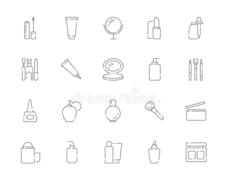 Simple set of Cosmetic products and Makeup vector line web icons. royalty free stock photography