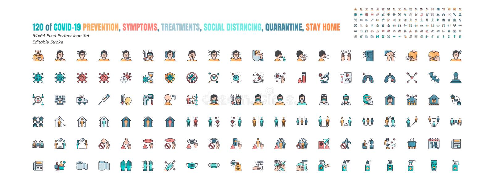 Simple Set of Covid-19 Prevention Filled Outline Icons. such Icons as Protective, Coronavirus, Social Distancing, Symptoms,. Quarantine, Stay at Home, Hand royalty free illustration
