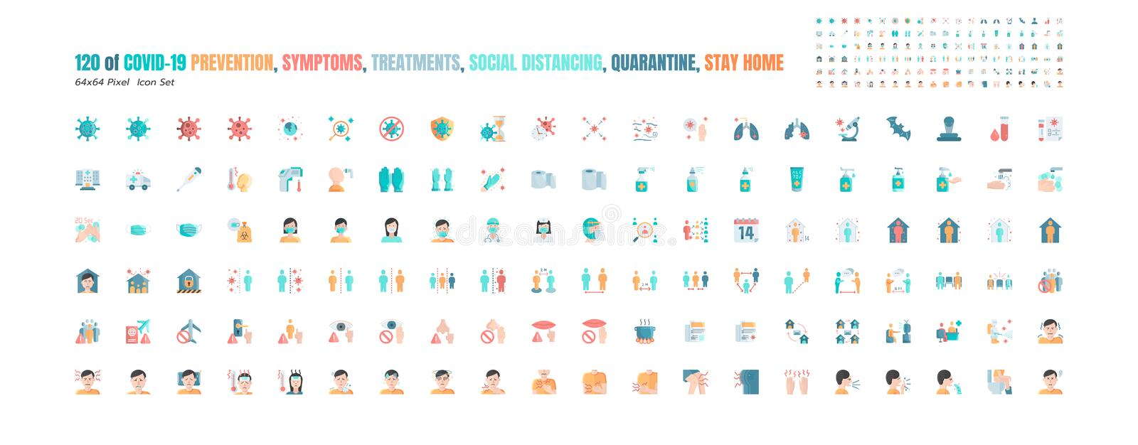 Simple Set of Covid-19 Prevention Flat Icons. such Icons as Protective Measures, Coronavirus, Hygienic Healthcare, Social. Distancing, Hands Washing, Symptoms vector illustration