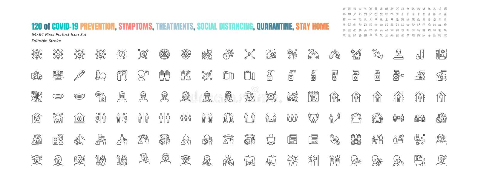 Simple Set of Covid-19 Prevention Line Outline Icons. such Icons as Protective Measures, Coronavirus, Social Distancing, Symptoms. Quarantine, Stay at Home stock illustration