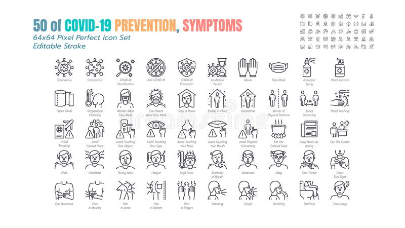 Simple Set of Covid-19 Prevention Line Outline Icons. such Icons as Protective Measures, Coronavirus, Social Distancing, Symptoms. Quarantine, Stay at Home vector illustration