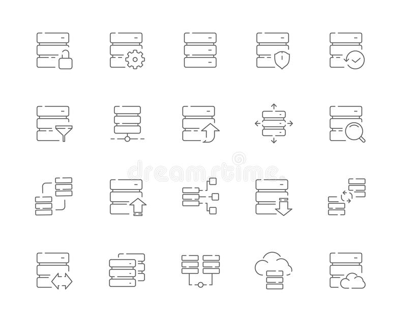 Simple set of Database related vector line web icons stock image