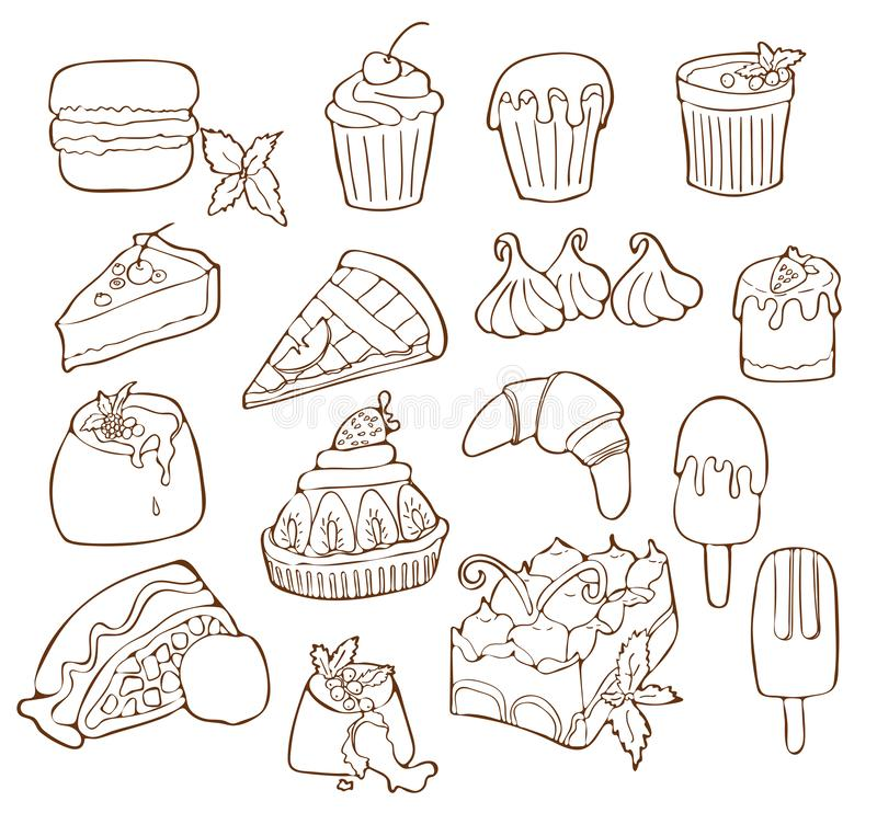 Simple Set of Dessert Related Vector Line Icons. Isolated cartoon illustration. vector illustration
