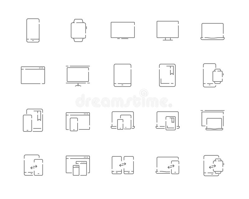Simple set of devices vector line web icons. Contains such Icons as mobile phone, tablet, desktop, watch, projector, desktop, tv, stock illustration